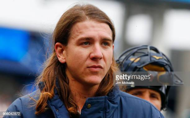 Mike Clevinger of the Cleveland Indians looks on before a game against the New York Yankees at Yankee Stadium on May 6 2018 in the Bronx borough of...