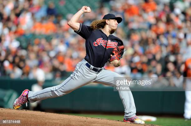 Mike Clevinger of the Cleveland Indians pitches against the Baltimore Orioles at Oriole Park at Camden Yards on April 21 2018 in Baltimore Maryland