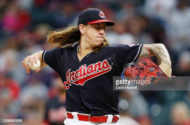Mike Clevinger of the Cleveland Indians pitches against the Boston Red Sox in the first inning at Progressive Field on September 22 2018 in Cleveland...