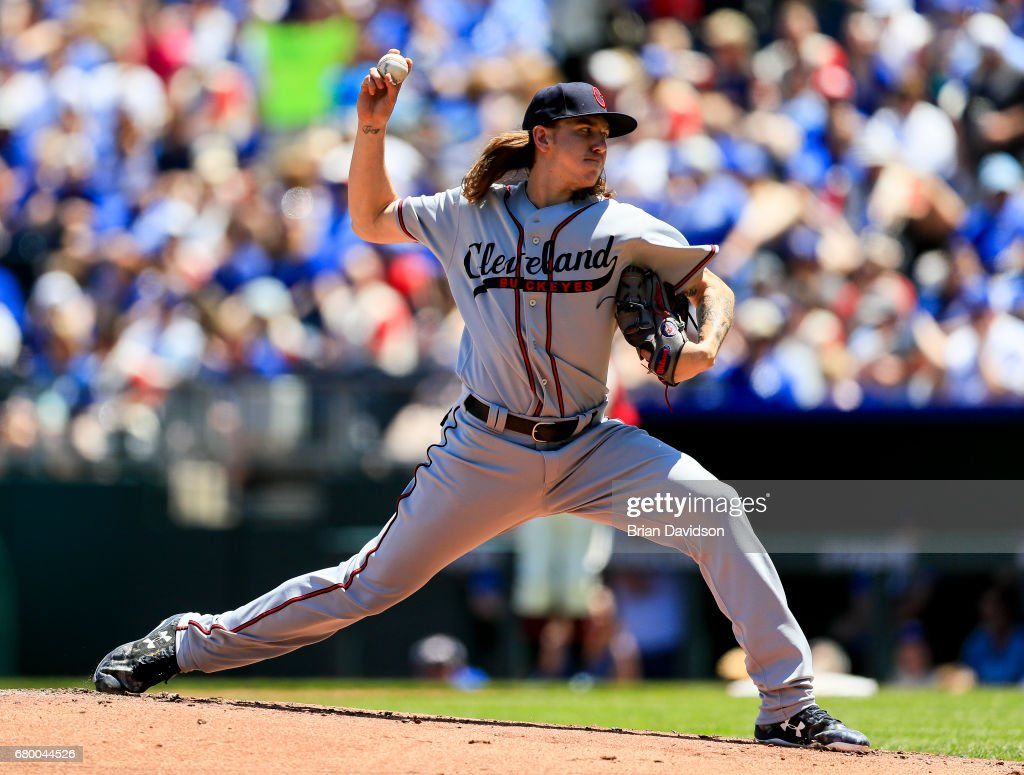Mike Clevinger #52 of the Cleveland Indians pitches against the Kansas City Royals during the first inning at Kauffman Stadium on May 7, 2017 in Kansas City, Missouri.