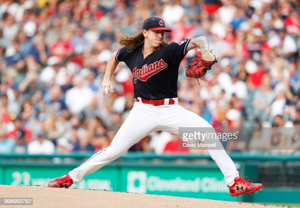 Mike Clevinger of the Cleveland Indians pitches against the New York Yankees in the first inning at Progressive Field on July 14 2018 in Cleveland...
