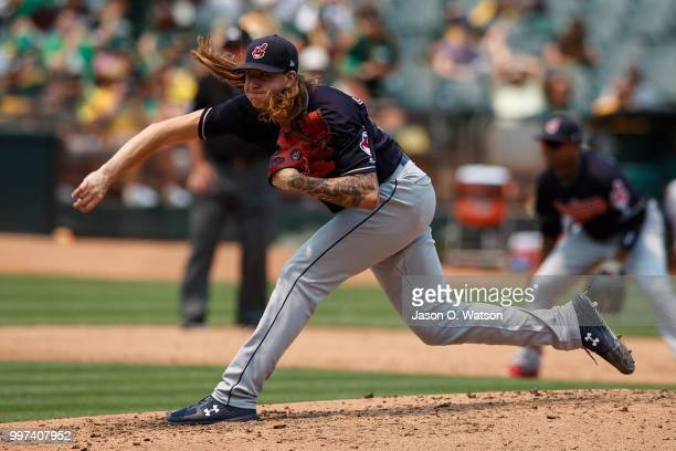 Mike Clevinger of the Cleveland Indians pitches against the Oakland Athletics during the fifth inning at the Oakland Coliseum on July 1 2018 in...
