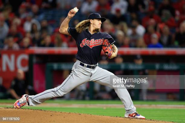 Mike Clevinger of the Cleveland Indians pitches during the first inning against the Los Angeles Angels of Anaheim during the Los Angeles Angels of...
