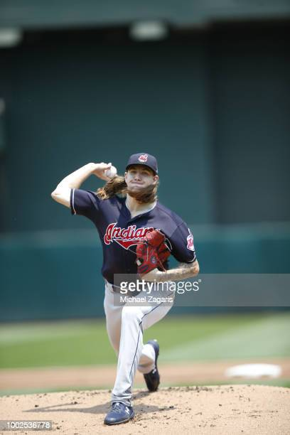 Mike Clevinger of the Cleveland Indians pitches during the game against the Oakland Athletics at the Oakland Alameda Coliseum on July 1 2018 in...
