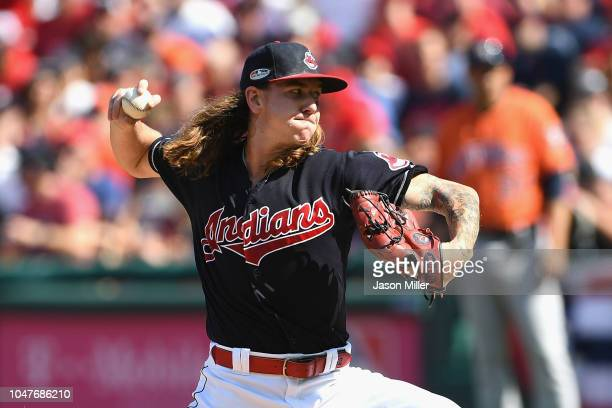 Mike Clevinger of the Cleveland Indians pitches in the first inning against the Houston Astros during Game Three of the American League Division...