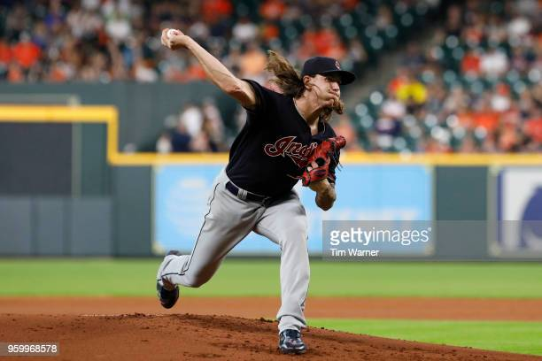 Mike Clevinger of the Cleveland Indians pitches in the first inning against the Houston Astros at Minute Maid Park on May 18 2018 in Houston Texas