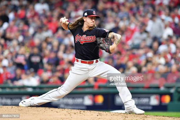 Mike Clevinger of the Cleveland Indians pitches in the fourth inning against the New York Yankees during game two of the American League Division...