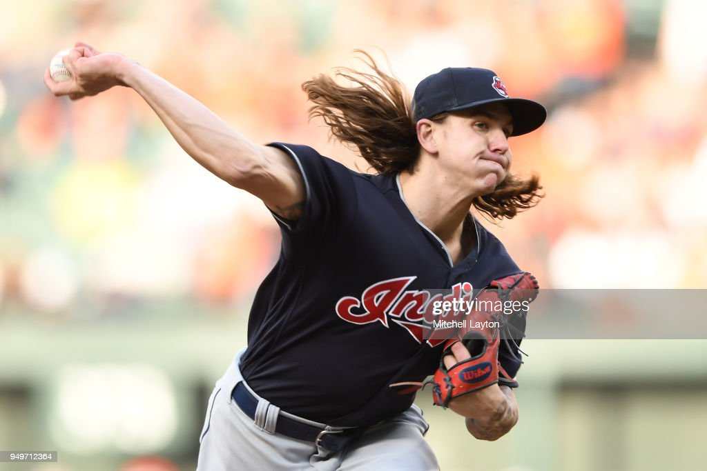 Mike Clevinger #52 of the Cleveland Indians pitches in the ninthinning during a baseball game against the Baltimore Orioles at Oriole Park at Camden Yards on April 21, 2018 in Baltimore, Maryland.