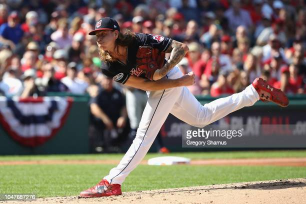 Mike Clevinger of the Cleveland Indians pitches in the second inning against the Houston Astros during Game Three of the American League Division...