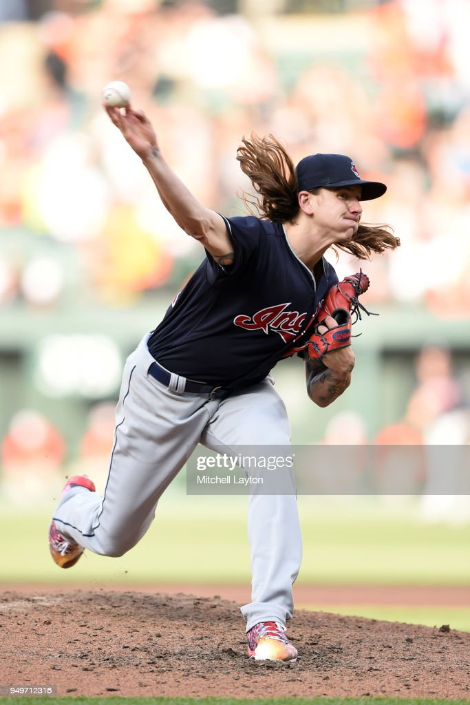 Mike Clevinger #52 of the Cleveland Indians pitches in the seventh inning during a baseball game against the Baltimore Orioles at Oriole Park at Camden Yards on April 21, 2018 in Baltimore, Maryland.