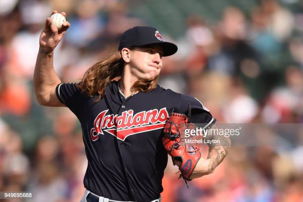 Mike Clevinger of the Cleveland Indians pitches in the third inning during a baseball game against the Baltimore Orioles at Oriole Park at Camden...