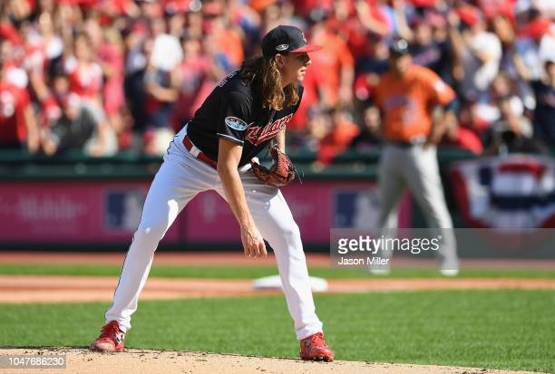 Mike Clevinger of the Cleveland Indians stands on the pitcher's mound in the first inning against the Houston Astros during Game Three of the...
