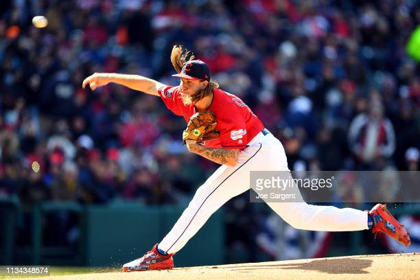 Mike Clevinger pitches during the game between the Chicago White Sox and the Cleveland Indians at Progressive Field on Monday April 1 2019 in...