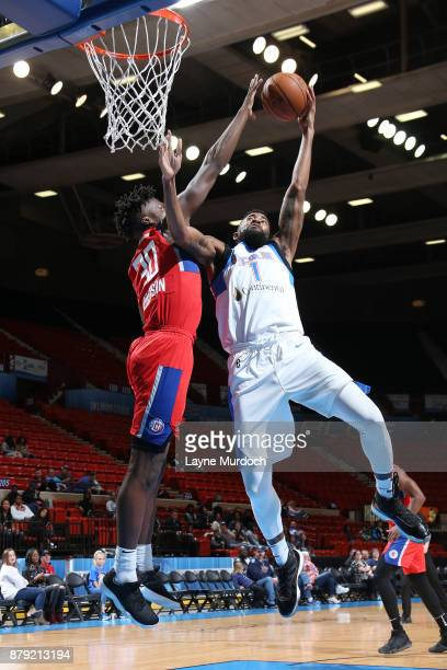 Mike Cobbins of the Oklahoma City Blue drives to the basket during a NBA GLeague game against the Agua Caliente Clippers on November 25 2017 at the...