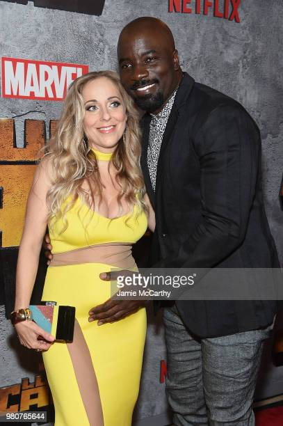 Mike Colter and Iva Colter attend the 'Luke Cage' Season 2 premiere at The Edison Ballroom on June 21 2018 in New York City