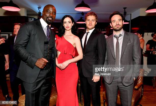 Mike Colter Krysten Ritter Finn Jones and Charlie Cox attend the 'Marvel's The Defenders' New York Premiere After Party at The Standard Biergarten on...