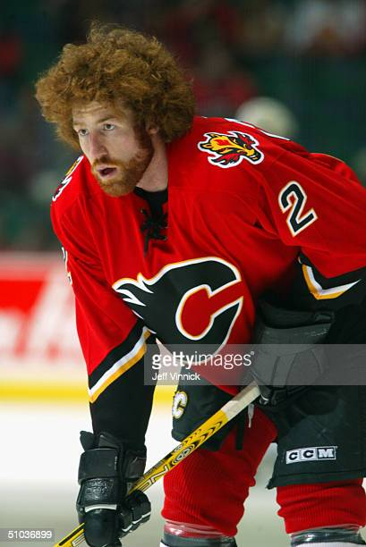 Mike Commodore of the Calgary Flames looks on before Game 4 Round 2 of the NHL Playoffs against the Detroit Red Wings at Pengrowth Saddledome on...