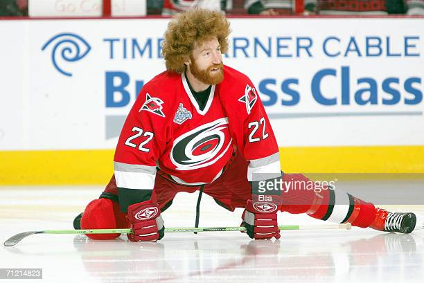 Mike Commodore of the Carolina Hurricanes warms up before game five of the 2006 NHL Stanley Cup Finals against the Edmonton Oilers on June 14 2006 at...