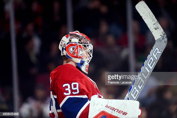 Mike Condon of the Montreal Canadiens during a game against the Winnipeg Jets in the NHL game at the Bell Centre on November 1 2015 in Montreal...