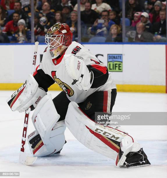 Mike Condon of the Ottawa Senators during the game against the Buffalo Sabres at the KeyBank Center on December 12 2017 in Buffalo New York