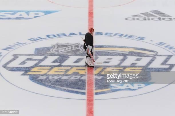 Mike Condon of the Ottawa Senators skates over the center ice logo during practice at Ericsson Globe on November 7 2017 ahead of the 2017 SAP NHL...