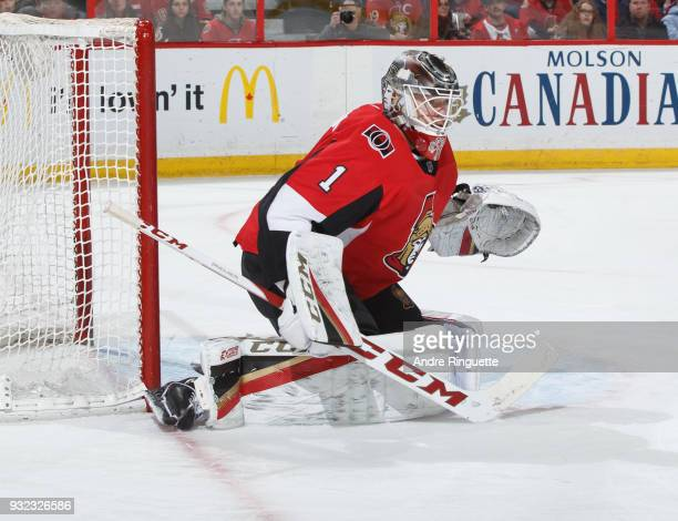 Mike Condon of the Ottawa Senators tends net against the Calgary Flames at Canadian Tire Centre on March 9 2018 in Ottawa Ontario Canada