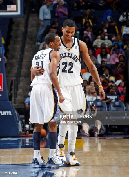 Mike Conley and Rudy Gay of the Memphis Grizzlies celebrate during a game against the Golden State Warriors on March 20 2010 at FedExForum in Memphis...