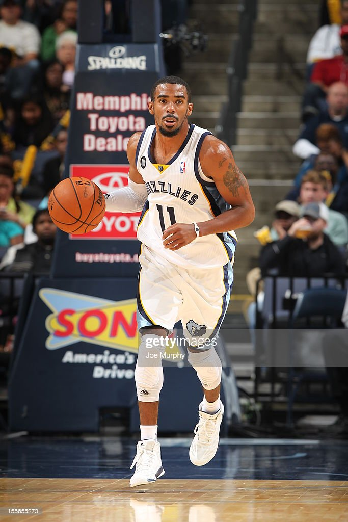 Mike Conley Jr. #11 of the Memphis Grizzlies handles the ball against the Utah Jazz on November 5, 2012 at FedExForum in Memphis, Tennessee.