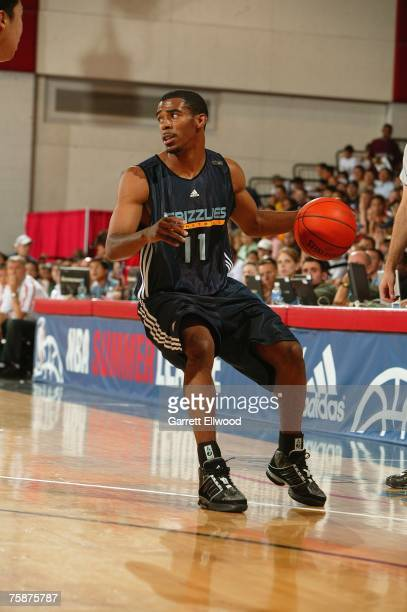 Mike Conley, Jr. #11 of the Memphis Grizzlies handles the ball during Game 3 of the NBA Summer League against the Chinese National Team on July 6,...