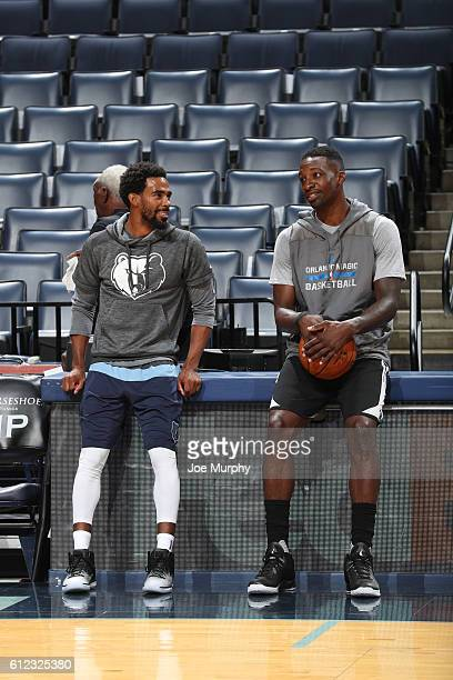 Mike Conley of the Memphis Grizzlies and Jeff Green of the Orlando Magic talk before the game during a preseason game on October 3 2016 at FedExForum...