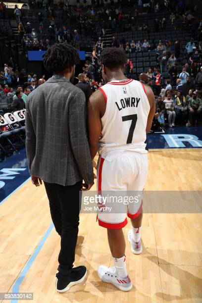 Mike Conley of the Memphis Grizzlies and Kyle Lowry of the Toronto Raptors talk after the game on December 8 2017 at FedExForum in Memphis Tennessee...