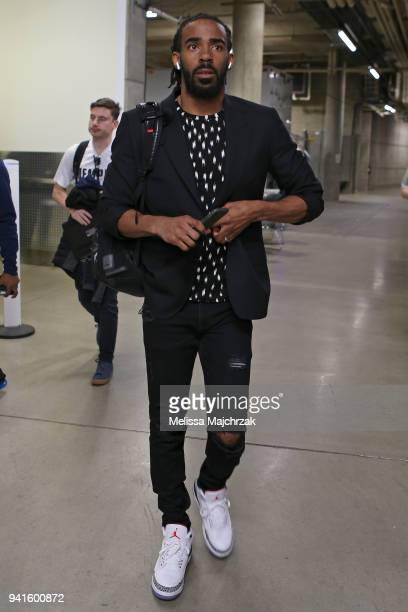 Mike Conley of the Memphis Grizzlies arrives at the stadium before the game against the Utah Jazz on March 30 2018 at vivintSmartHome Arena in Salt...