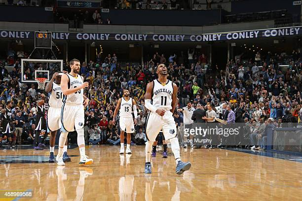 Mike Conley of the Memphis Grizzlies celebrates after hitting a key basket against the Sacramento Kings on November 13 2014 at FedExForum in Memphis...
