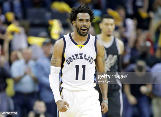 Mike Conley of the Memphis Grizzlies celebrates against the San Antonio Spurs in game three of the Western Conference Quarterfinals during the 2017...