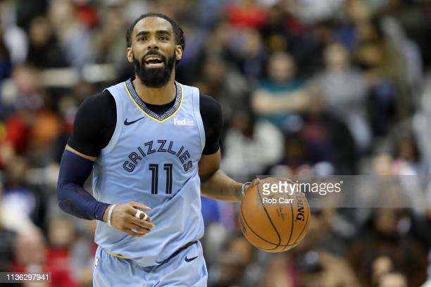 Mike Conley of the Memphis Grizzlies dribbles the ball against the Washington Wizards in the second half at Capital One Arena on March 16 2019 in...