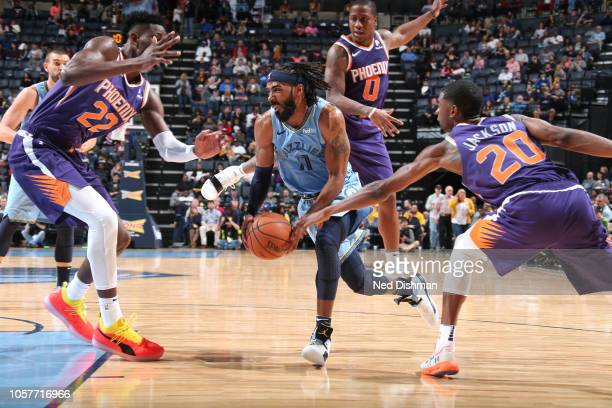 Mike Conley of the Memphis Grizzlies drives to the basket against the Phoenix Suns on October 27 2018 at FedExForum in Memphis Tennessee NOTE TO USER...