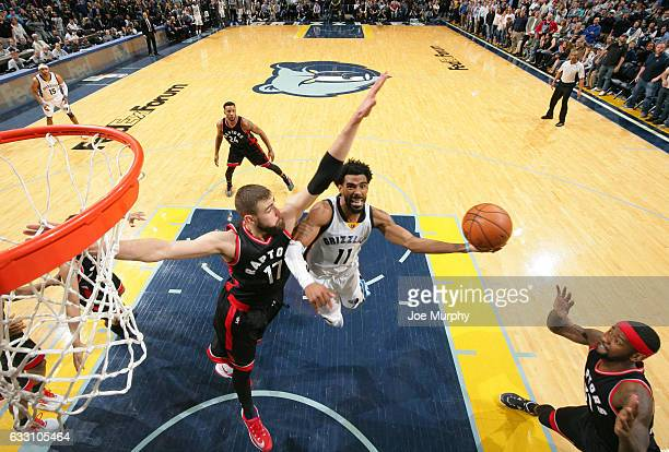 Mike Conley of the Memphis Grizzlies drives to the basket against the Toronto Raptors on January 25 2017 at FedExForum in Memphis Tennessee NOTE TO...