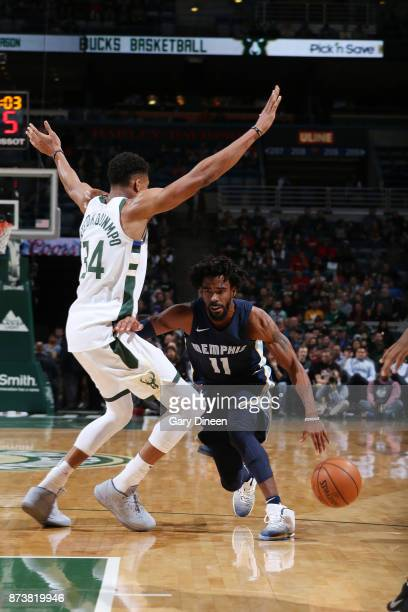 Mike Conley of the Memphis Grizzlies handles the ball against the Milwaukee Bucks on November 13 2017 at the BMO Harris Bradley Center in Milwaukee...