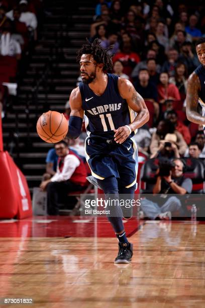Mike Conley of the Memphis Grizzlies handles the ball during the game against the Houston Rockets on November 11 2017 at the Toyota Center in Houston...