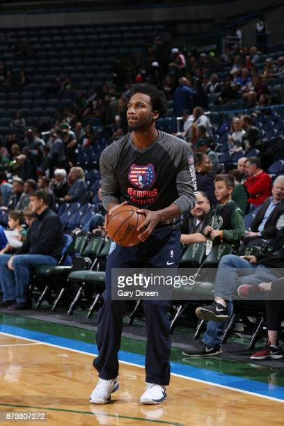 Mike Conley of the Memphis Grizzlies handles the ball during warmups before the game against the Milwaukee Bucks on November 13 2017 at the BMO...