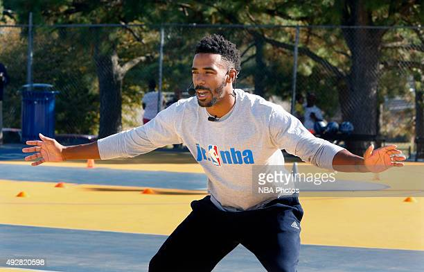 Mike Conley of the Memphis Grizzlies hosts a skills and drills basketball clinic at Lester Community Center on October 14 2015 in Memphis Tennessee...