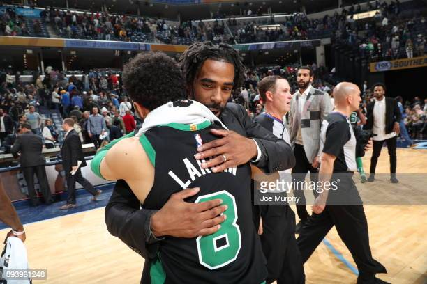 Mike Conley of the Memphis Grizzlies hugs Shane Larkin of the Boston Celtics after the game on December 16 2017 at FedEx Forum in Memphis Ohio NOTE...