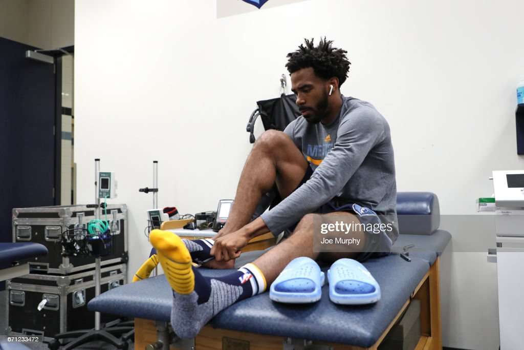 Mike Conley #11 of the Memphis Grizzlies in the prepares before the game against the San Antonio Spurs during Game Three of the Western Conference Quarterfinals of the 2017 NBA Playoffs on April 20, 2017 at FedExForum in Memphis, Tennessee.