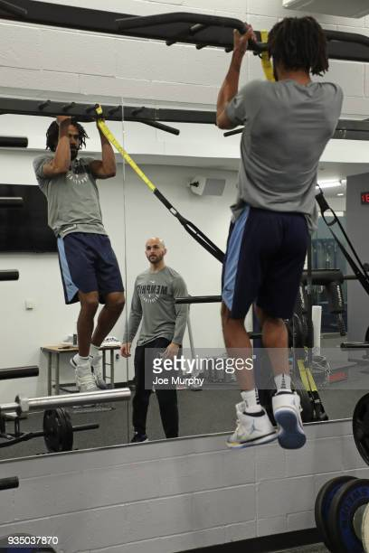 Mike Conley of the Memphis Grizzlies lifts weights before the game on March 17 2018 at FedExForum in Memphis Tennessee NOTE TO USER User expressly...