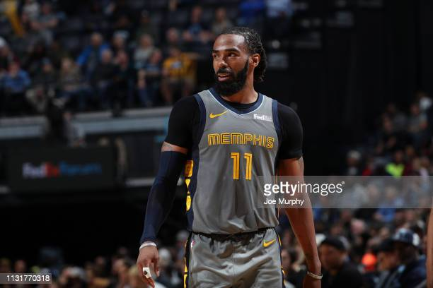 Mike Conley of the Memphis Grizzlies looks on against the Houston Rockets on March 20 2019 at FedExForum in Memphis Tennessee NOTE TO USER User...