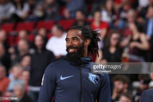Mike Conley of the Memphis Grizzlies looks on during the game against the Portland Trail Blazers on April 3 2019 at the Moda Center in Portland...