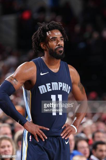 Mike Conley of the Memphis Grizzlies looks on during the game against the Portland Trail Blazers on November 7 2017 at the Moda Center in Portland...