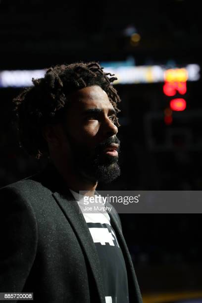 Mike Conley of the Memphis Grizzlies looks on during the game against the Minnesota Timberwolves on December 4 2017 at FedEx Forum in Memphis...