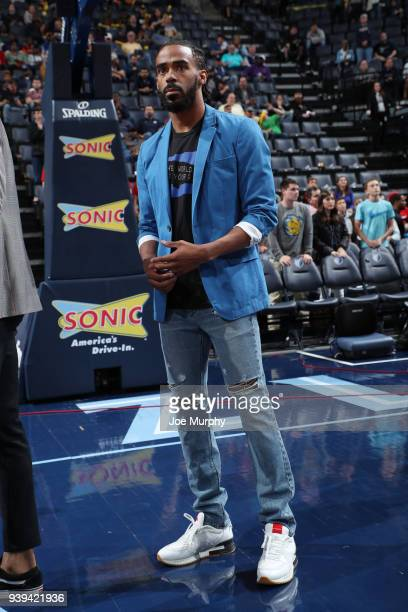 Mike Conley of the Memphis Grizzlies looks on during warm ups prior to the game against the Portland Trail Blazers on March 28 2018 at FedExForum in...