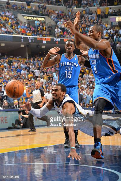 Mike Conley of the Memphis Grizzlies makes a pass against the Oklahoma City Thunder in Game Four of the Western Conference Quarterfinals during the...